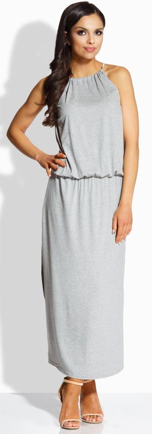 Dlouhé letní šaty s tenkou gumou v pase