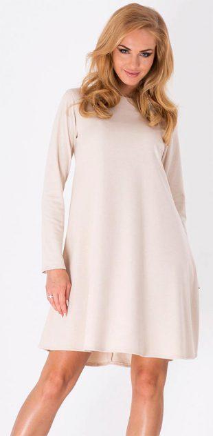 Lichoběžníkové dámské šaty s dlouhým rukávem