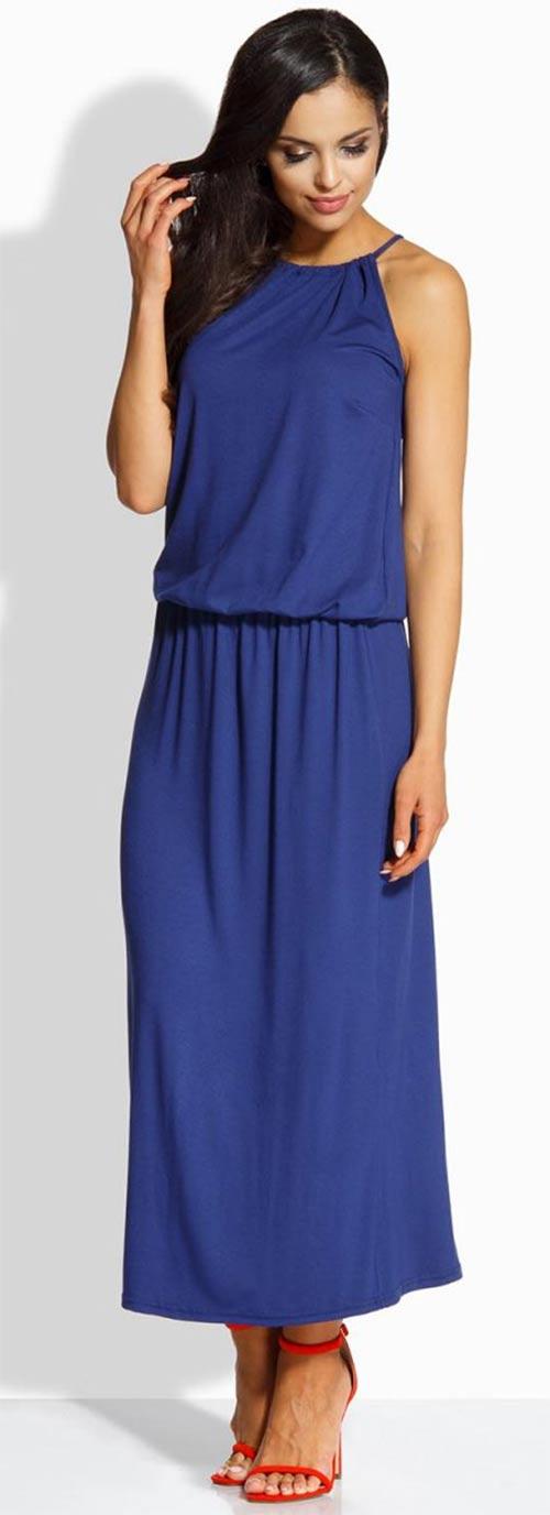 Modré dlouhé letní šaty bez rukávů