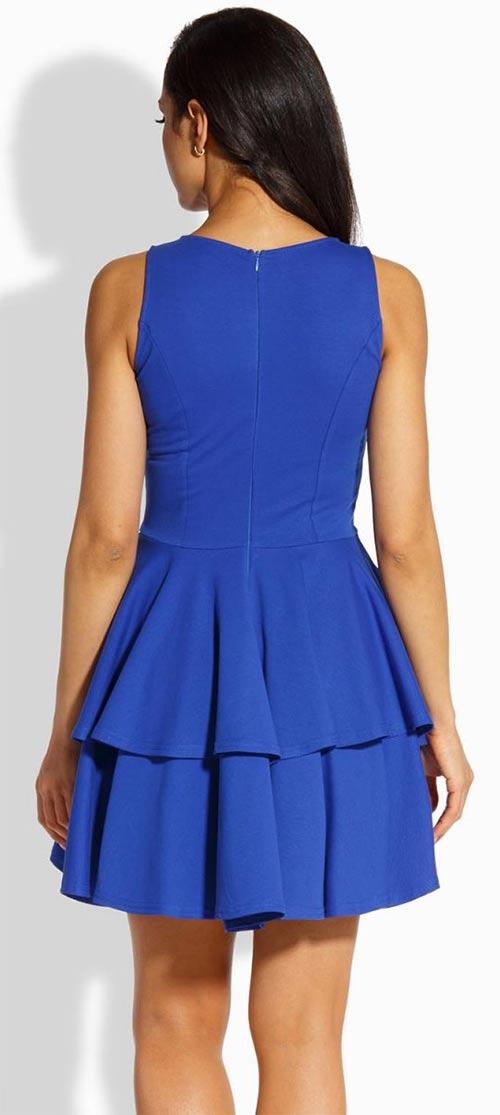 Modré letní šaty s volánkovou sukní