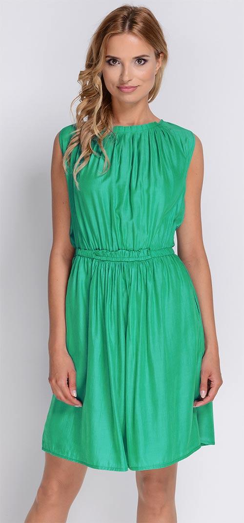 Nařasené tyrkysové letní šaty