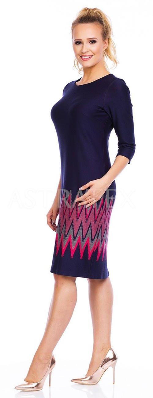 Šaty s tříčtvrtečními rukávy s barevným vzorem