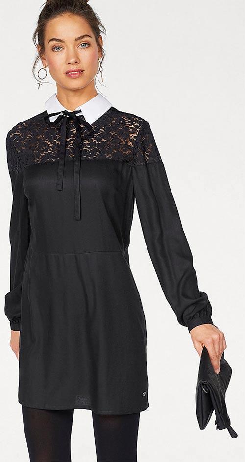 Černé dámské šaty s bílým límečkem