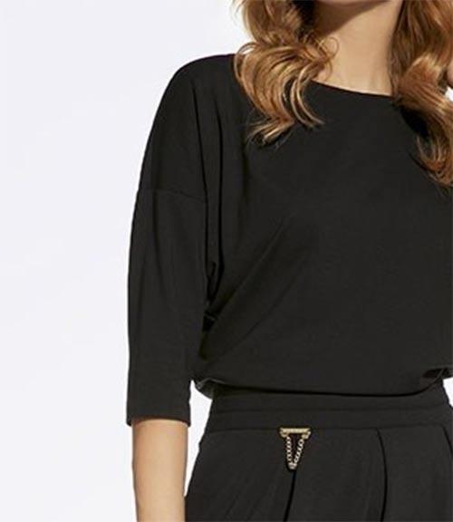 Černé šaty s tříčtvrtečními netopýřími rukávy