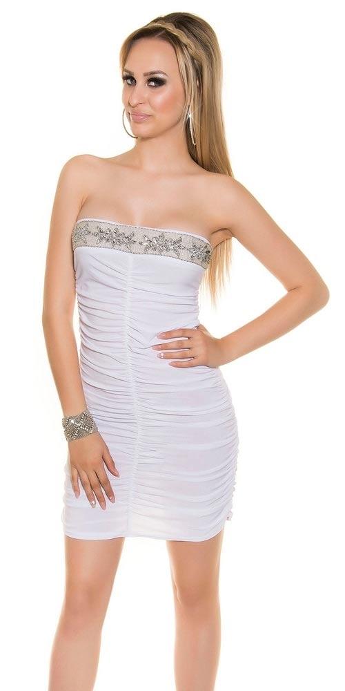 Dámské bílé mini šaty nad prsa