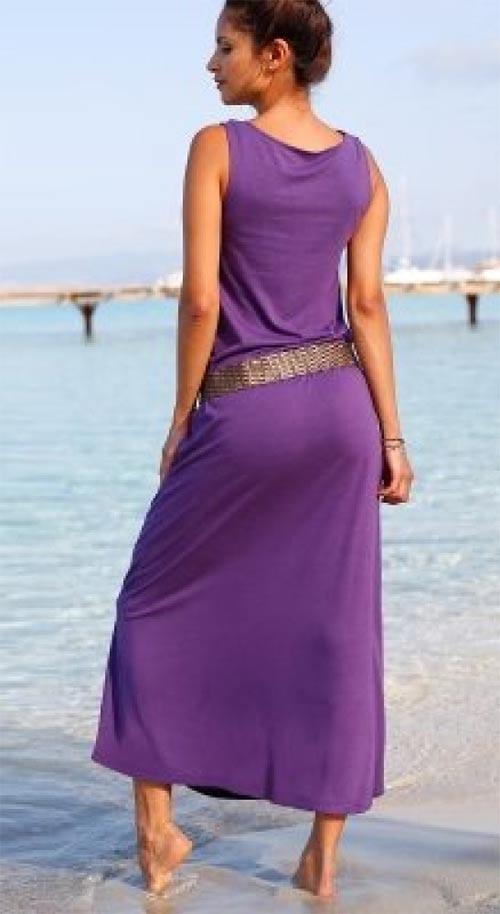 Dlouhé fialové šaty bez rukávů