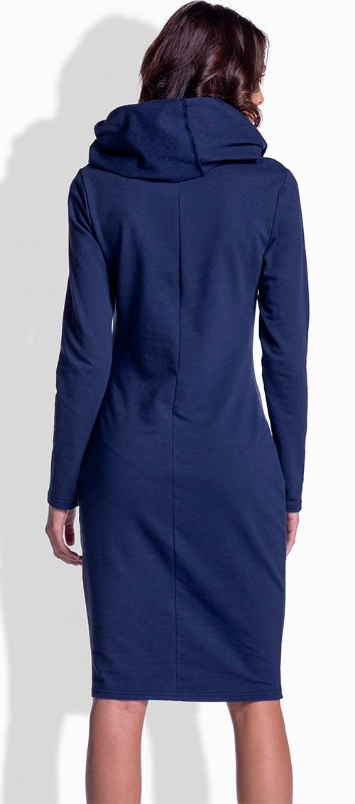 Modré šaty s šálovým rolákem
