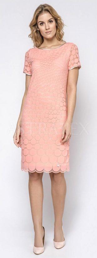 Puntíkované šaty Bel meruňkové barvy
