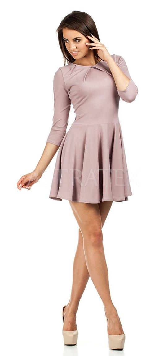 Šaty s tříčtvrtečními rukávy a skládanou sukní