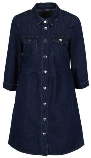 Tmavě modré džínové košilové šaty s 3/4 rukávy