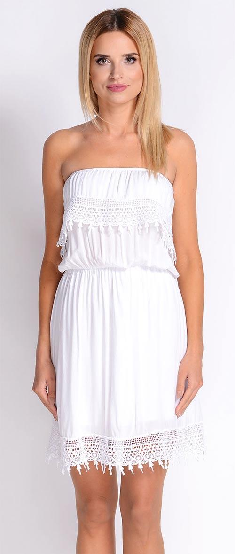 Bílé letní krajkové šaty