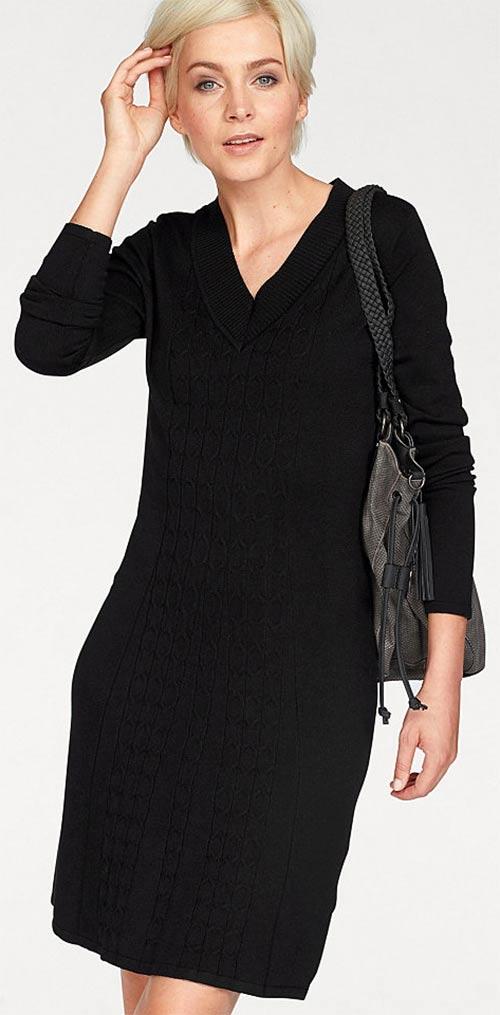 Černé pletené šaty s dlouhým rukávem