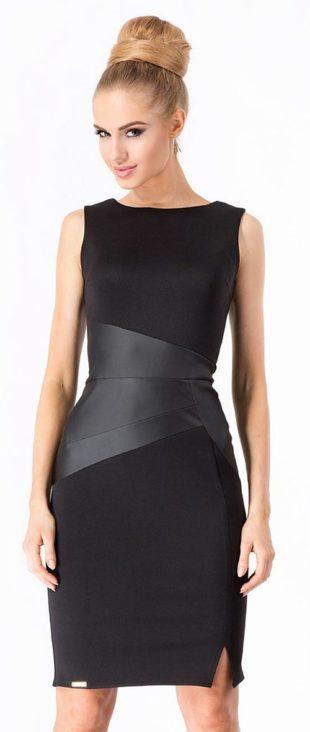 Černé společenské šaty s vsadkou z eko-kůže