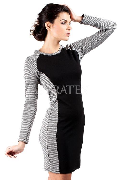 Černo-šedé úpletové šaty