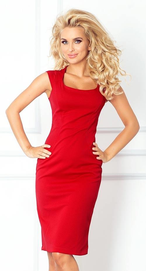 Červené vypasované casual šaty