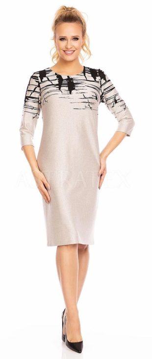 Dámské šaty Livia v klasickém střihu s ozdobným žíhaným vzorem