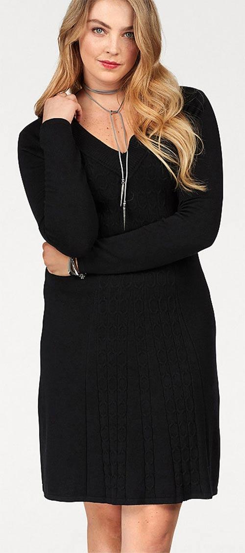 Pletené zimní dámské šaty