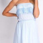 Šaty bez ramínek z lehké bavlněné tkaniny