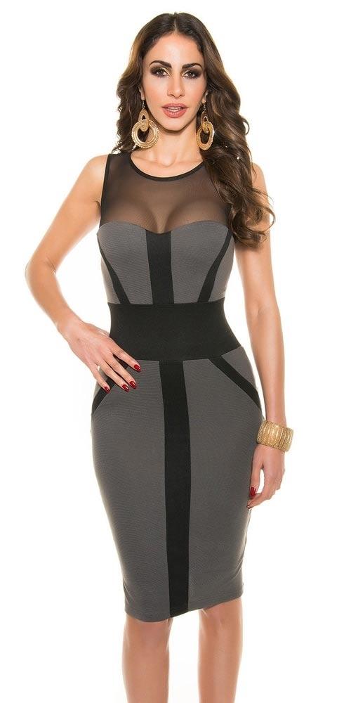 Šedo-černé šaty