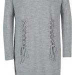 Zimní svetrové pletené šaty s dlouhým rukávem