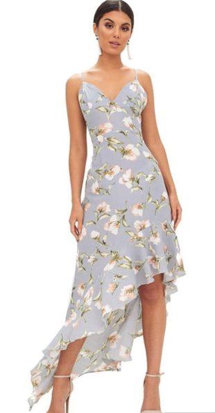 Asymetrické květinové dlouhé šaty