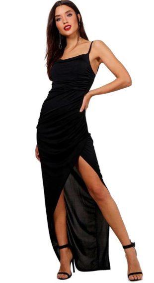 Dlouhé černé plesové maxi šaty