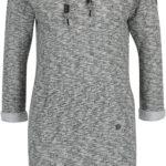 Černo-krémové žíhané mikinové šaty s kapucí Ragwear Bess