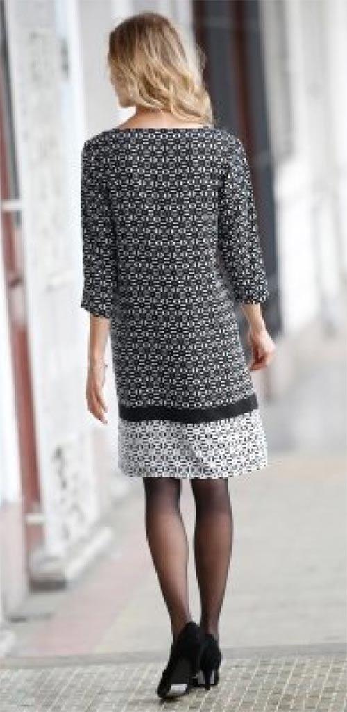 Černobílé podzimní šaty