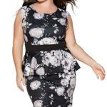 Černobílé společenské šaty pro plnoštíhlé