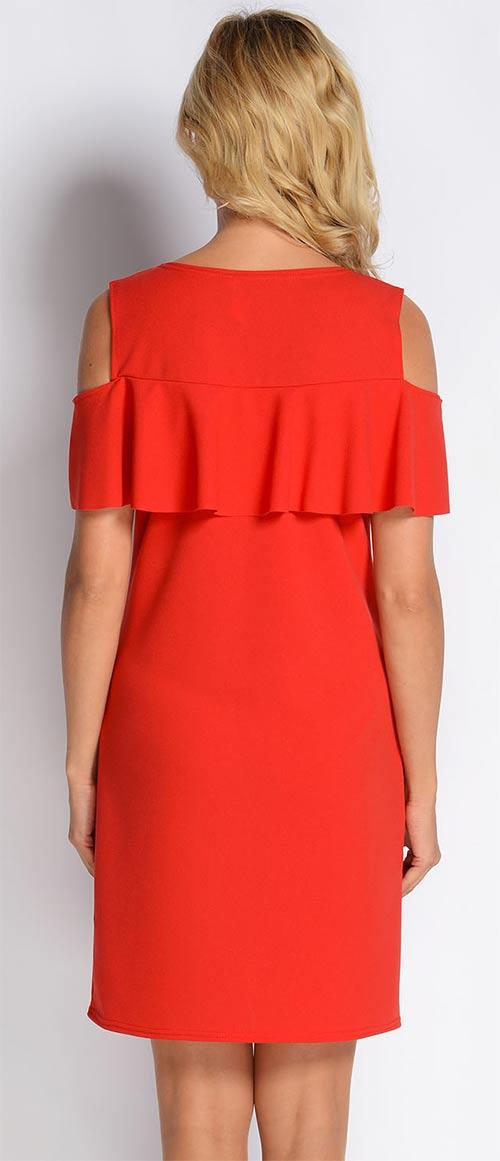 Červené volánkové šaty