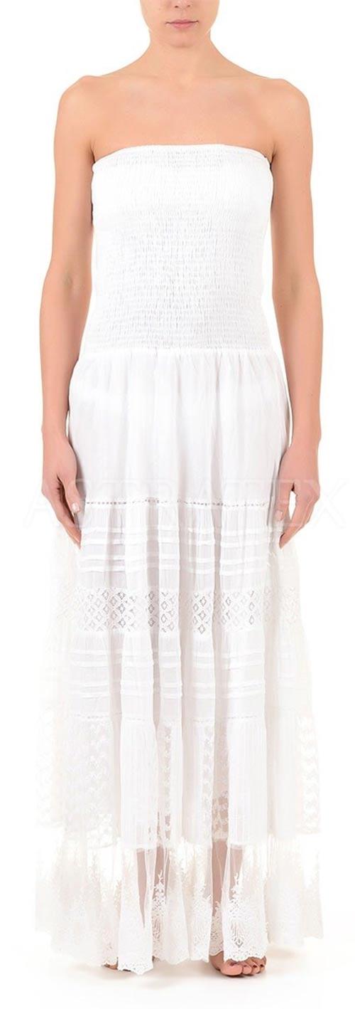 Dlouhé bílé plažové šaty