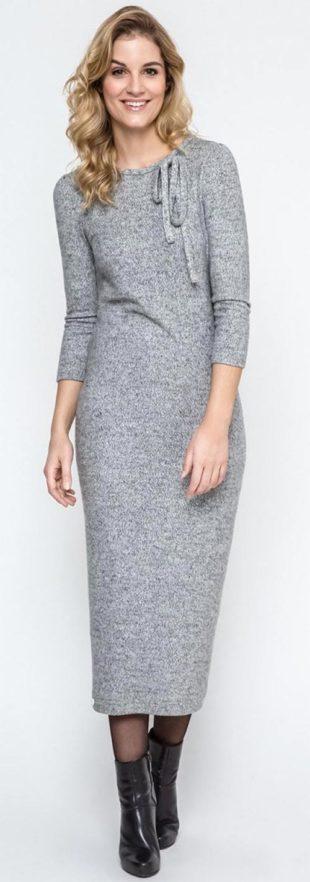 Dlouhé zímní úpletové šaty