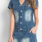 Džínové šaty s knoflíkovou légou