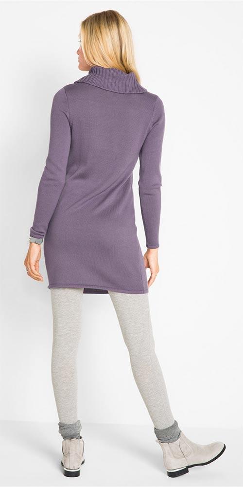 Fialové rolákové šaty
