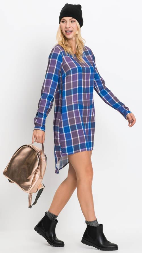 Jednoduché lehké šaty s dlouhým rukávem