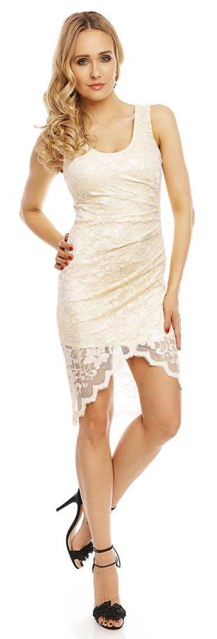 Krémové krajkové šaty Deluxe s asymetrickou sukní