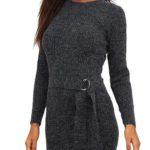Pletené šedé zimní mini šaty s páskem