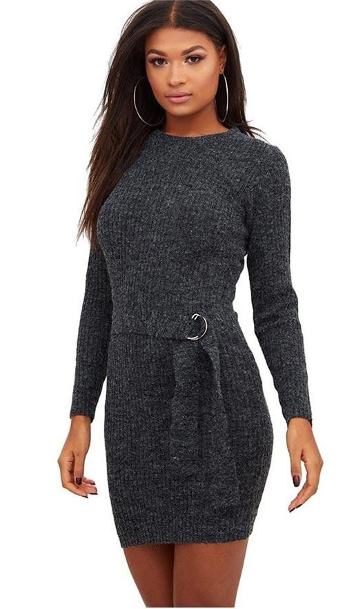 00a647116c3e Pletené šedé zimní mini šaty s páskem