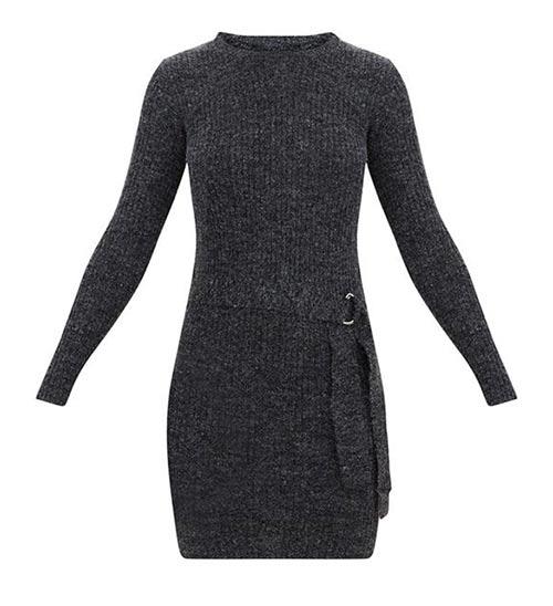 Pletené zimní šaty s dlouhým rukávem