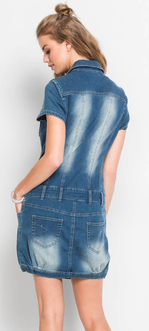 Riflové šaty s vyšoupáním