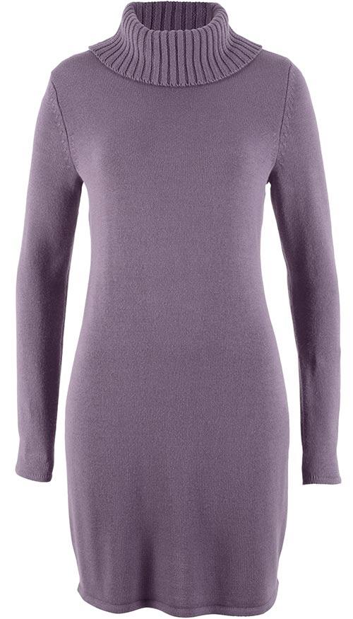 Rolákové pletené šaty s dlouhým rukávem