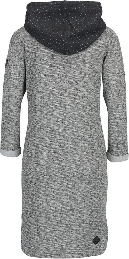 Šedé šaty s kapucí