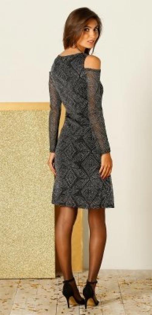 Šedé třpytivé glamour šaty