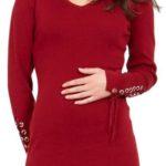 Vínové úpletové šaty se šnerovačkou na rukávech