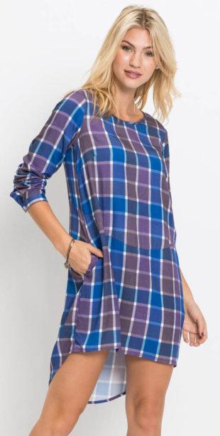 Volné domácí karované šaty Bonprix