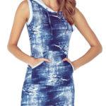 Zeštíhlující dámské šaty džínového vzhledu