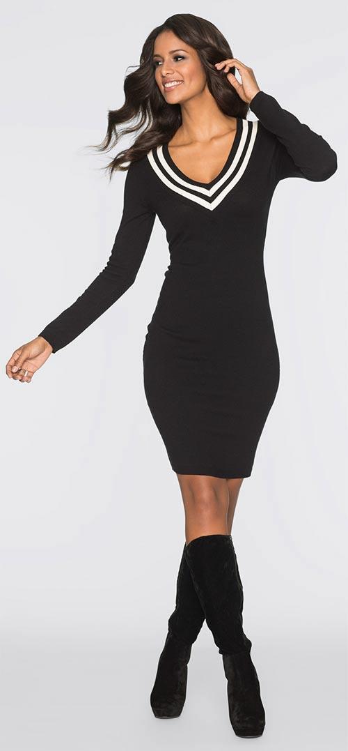 Zimní černé pletené šaty