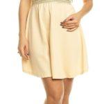 Béžové dámské šaty s krajkovým živůtkem