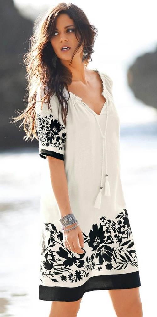 Bílé letní šaty s květinovým potiskem 12fd36285e