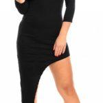 Černé asymetrické šaty s třičtvrtečním rukávem